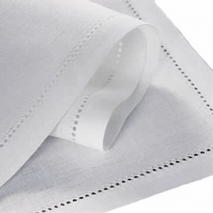 Fine Linen Napkins, White, with Punchspoke Border